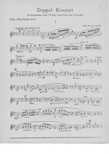 Double Concerto for Clarinet and Viola in E Minor, Op.88: Clarinet part by Max Bruch