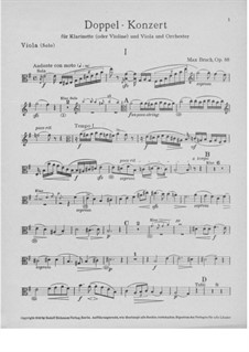 Double Concerto for Clarinet and Viola in E Minor, Op.88: Viola part by Max Bruch