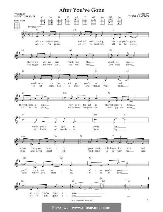 After You've Gone (Sophie Tucker): For ukulele by Henry Creamer, J. Turner Layton