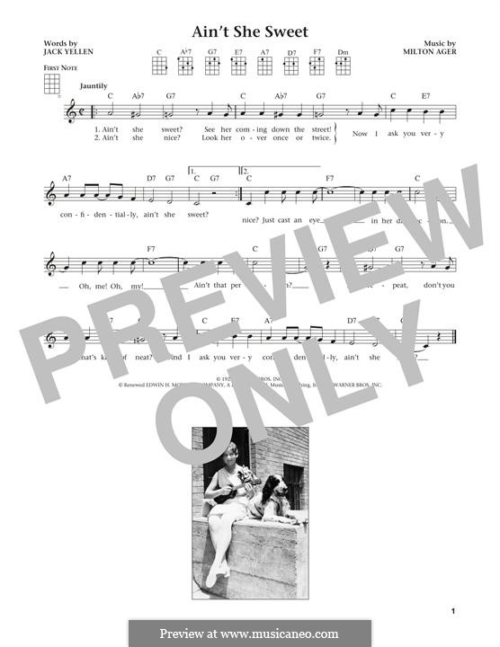 Ain't She Sweet (The Beatles): For ukulele by Milton Ager