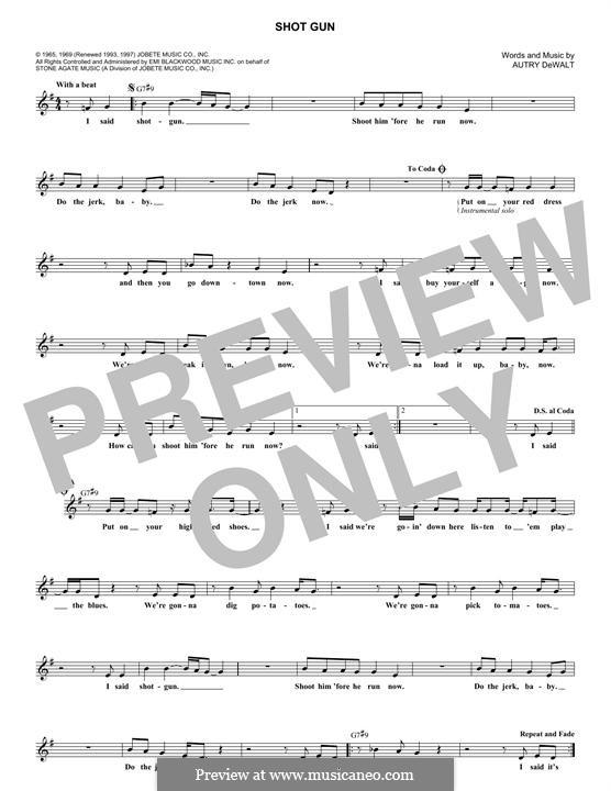 Shot Gun (Junior Walker & The All-Stars): Melody line by Autry DeWalt