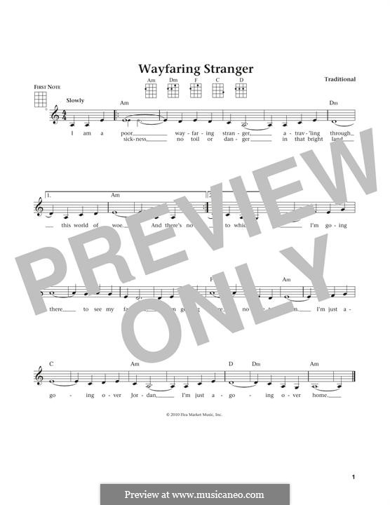Wayfaring Stranger: For ukulele by folklore