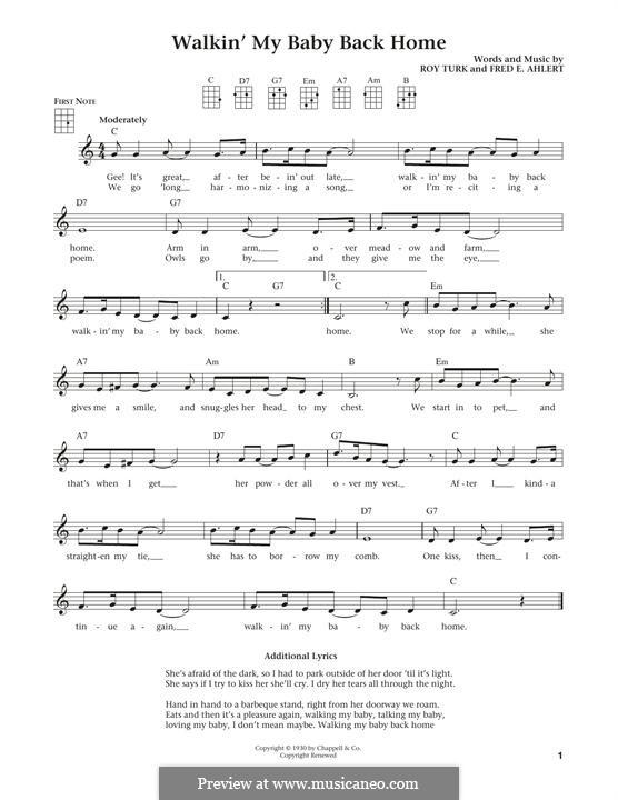 Walkin' My Baby Back Home (Nat King Cole): For ukulele by Roy Turk, Fred E. Ahlert