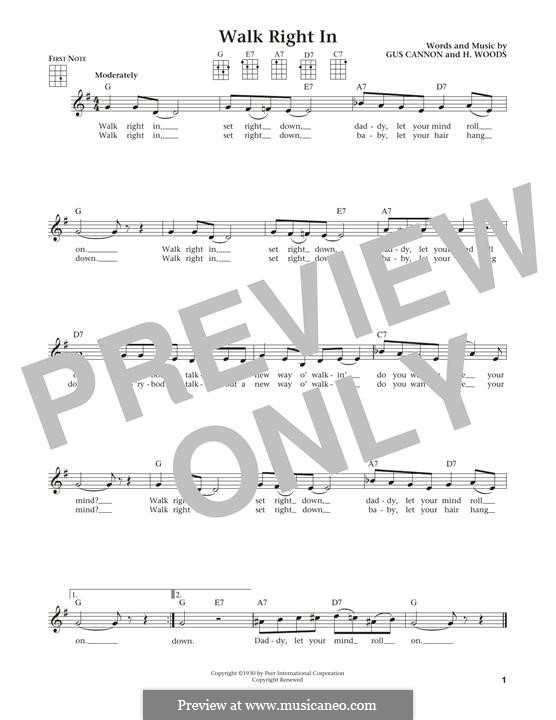 Walk Right in (The Rooftop Singers): For ukulele by Gus Cannon, Harry Woods