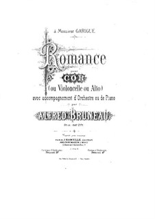 Romance for Cornet à pistons (or Cello, or Viola) and Piano: Full score by Alfred Bruneau
