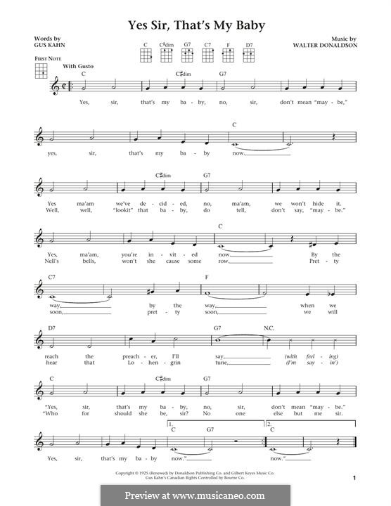 Yes Sir, That's My Baby: For ukulele by Walter Donaldson