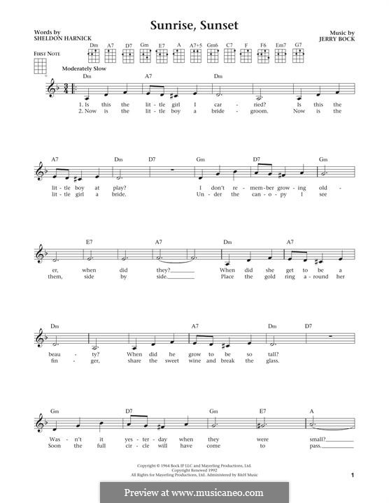 Sunrise, Sunset (from Fiddler on the Roof): For ukulele by Jerry Bock