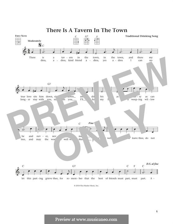 There Is a Tavern in the Town: For ukulele by folklore