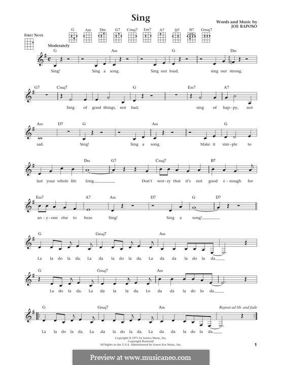 Sing (The Carpenters): For ukulele by Joe Raposo
