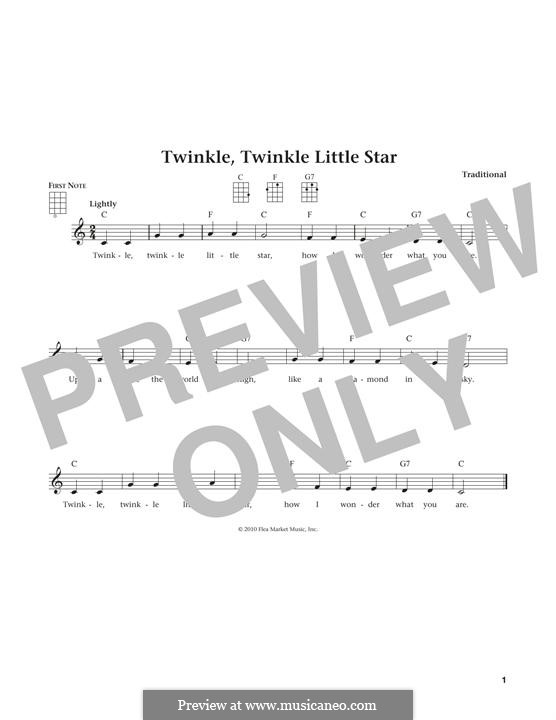 Twinkle, Twinkle Little Star: For ukulele by folklore