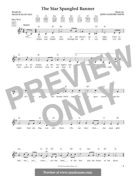 The Star Spangled Banner (National Anthem of The United States). Printable Scores: For ukulele by John Stafford Smith