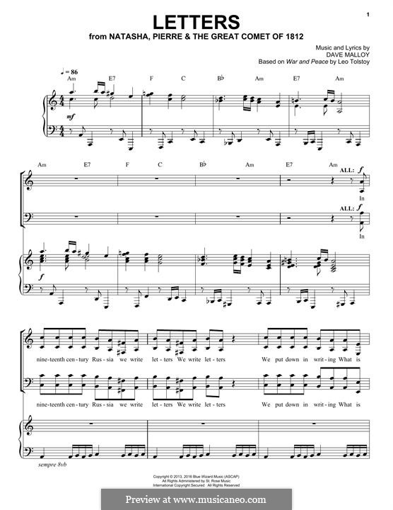 Letters (Josh Groban): For voice and piano by David Malloy