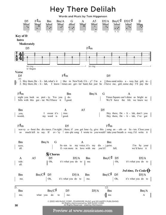 Hey There Delilah Guitar Tabs — Vila \