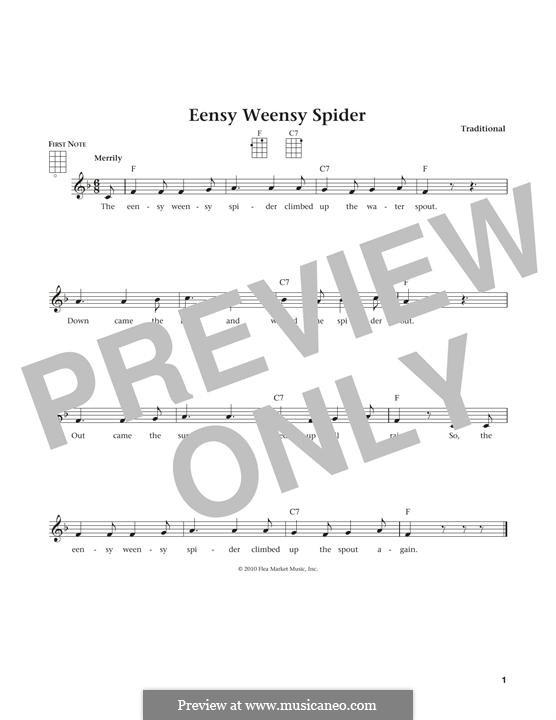 Eensy Weensy Spider: For ukulele by folklore