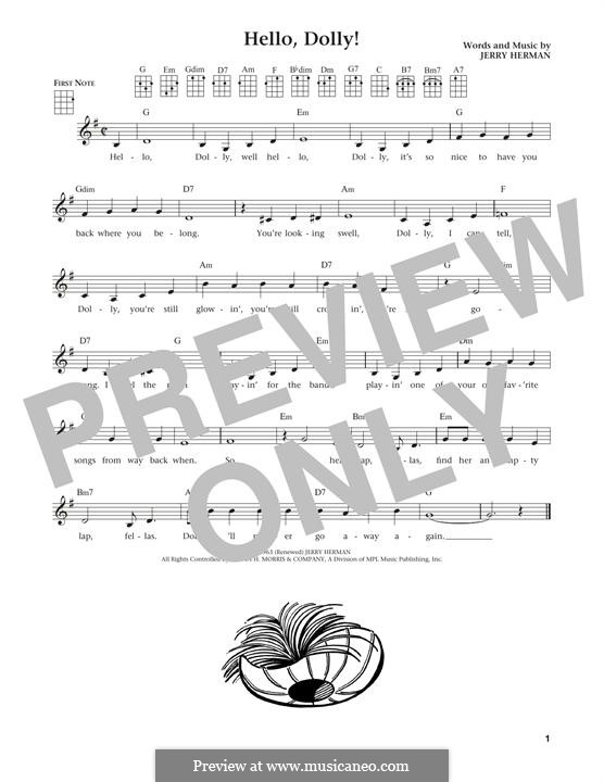 Hello Dolly (Louis Armstrong): For ukulele by Jerry Herman
