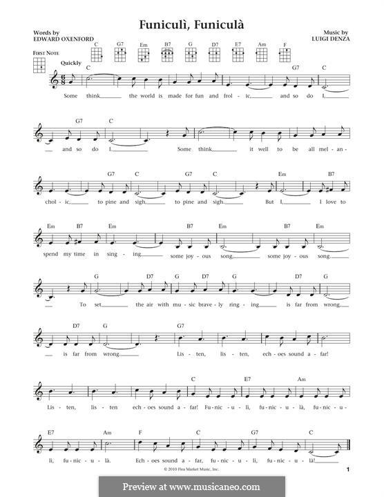 Funiculi, Funicula: For ukulele by Luigi Denza
