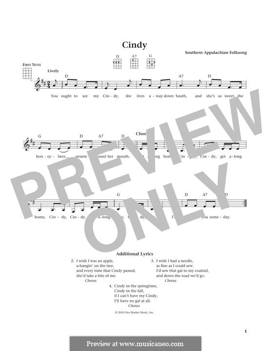 Cindy: For ukulele by folklore