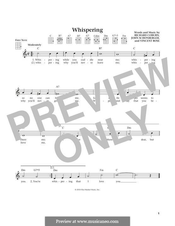 Whispering (Benny Goodman): For ukulele by John Schonberger, Richard Coburn, Vincent Rose