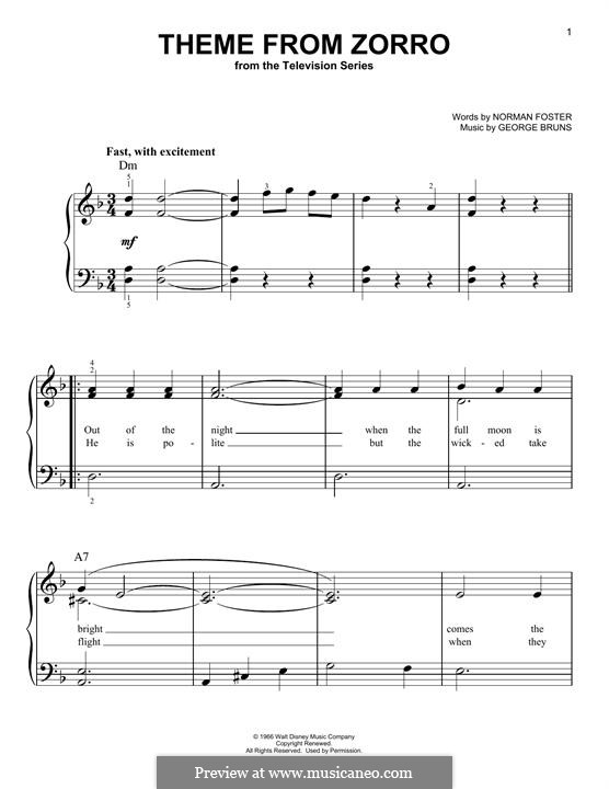 Theme from Zorro: For piano by George Bruns