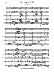 Concerto for Flute and Strings in G Major, RV 438: Score and parts by Antonio Vivaldi