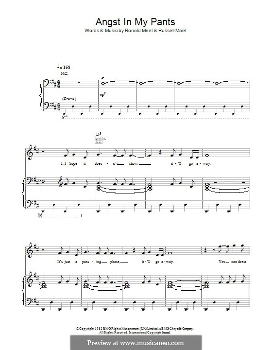 Angst in My Pants (Sparks): For voice and piano (or guitar) by Ronald Mael, Russell Mael