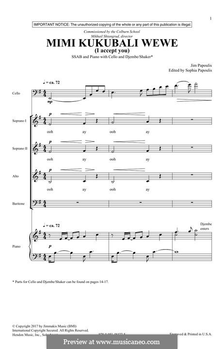 Mimi Kukubali Wewe: For mixed choir by Jim Papoulis