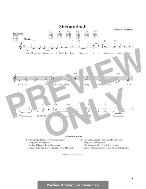 Shenandoah: For ukulele by folklore