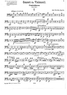 Concerto for Cello and Orchestra in B Minor, B.191 Op.104: Double bass part by Antonín Dvořák