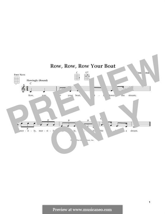 Row, Row, Row Your Boat: For ukulele by folklore
