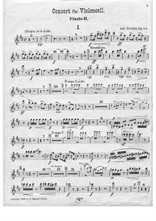 Concerto for Cello and Orchestra in B Minor, B.191 Op.104: Flute II part by Antonín Dvořák