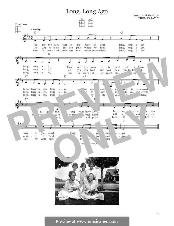 Long, Long Ago: For ukulele by Thomas Haynes Bayly
