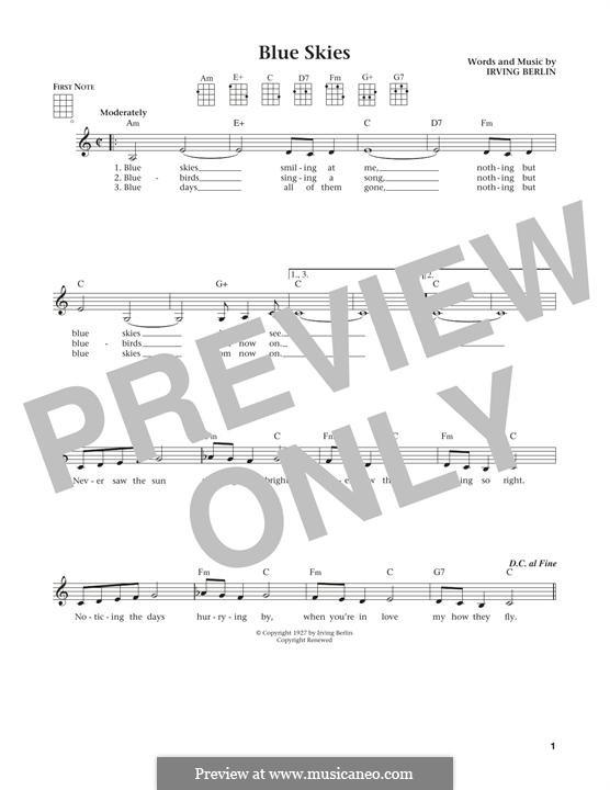 Blue Skies: For ukulele by Irving Berlin