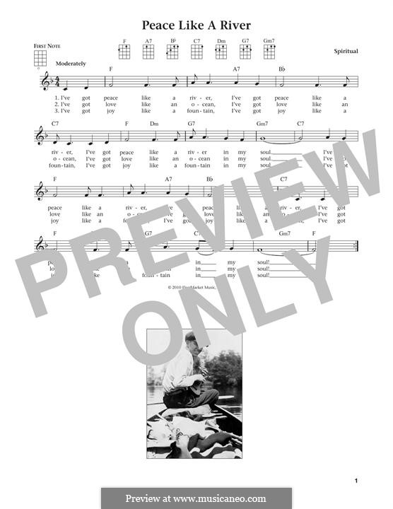 Ive Got Peace Like A River By Folklore Sheet Music On Musicaneo