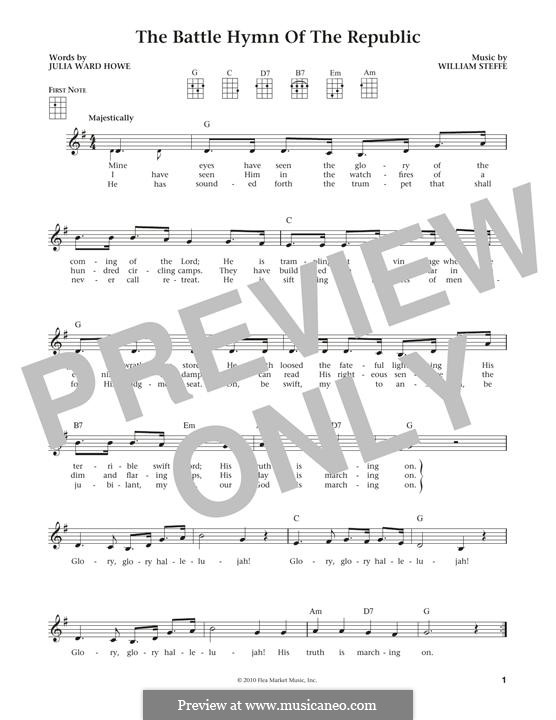 Battle Hymn of the Republic: For ukulele by William Steffe