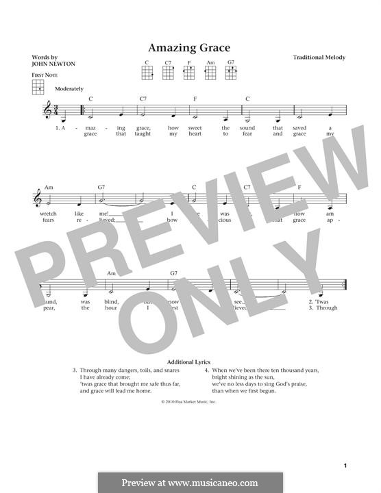 Amazing Grace (Printable Scores): For ukulele by folklore