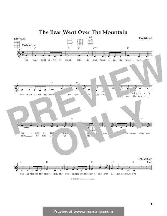 The Bear Went Over the Mountain: For ukulele by folklore