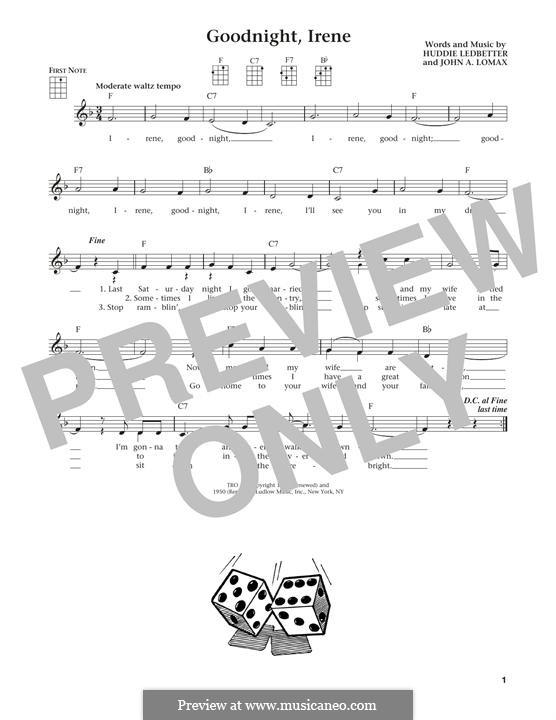 Goodnight, Irene: For ukulele by Huddie Ledbetter, John A. Lomax