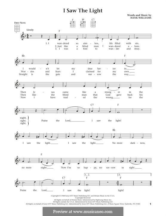 I Saw the Light: For ukulele by Hank Williams