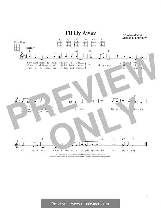 I'll Fly Away: For ukulele by Albert E. Brumley