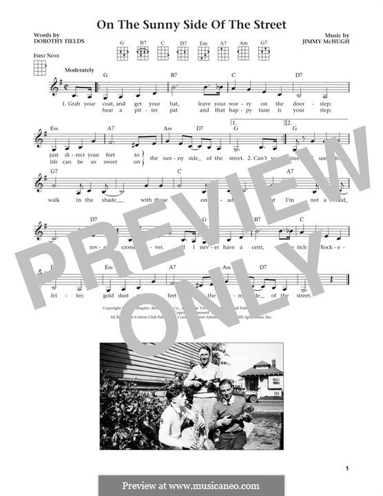 On the Sunny Side of the Street: For ukulele by Jimmy McHugh