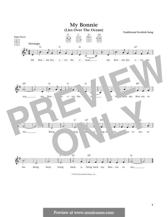 My Bonnie is over the Ocean: For ukulele by folklore