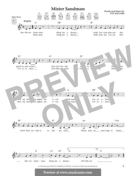 Mister Sandman (The Chordettes): For ukulele by Pat Ballard
