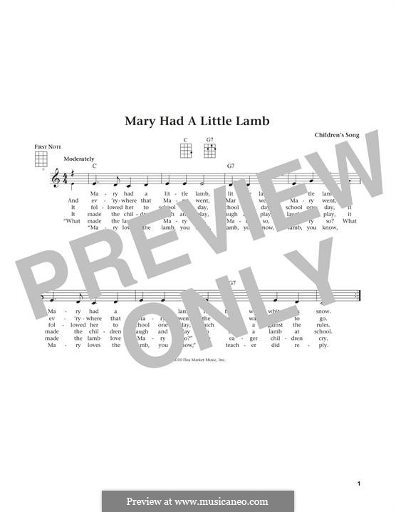 Mary Had a Little Lamb: For ukulele by folklore