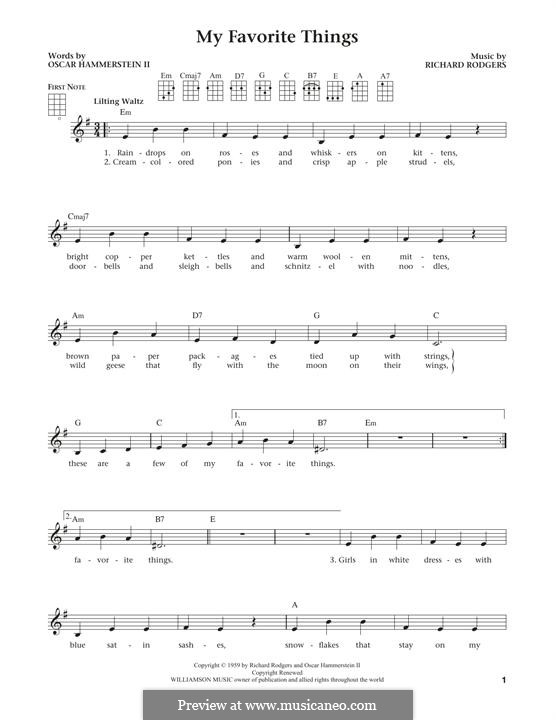My Favorite Things (from The Sound of Music): For ukulele by Richard Rodgers