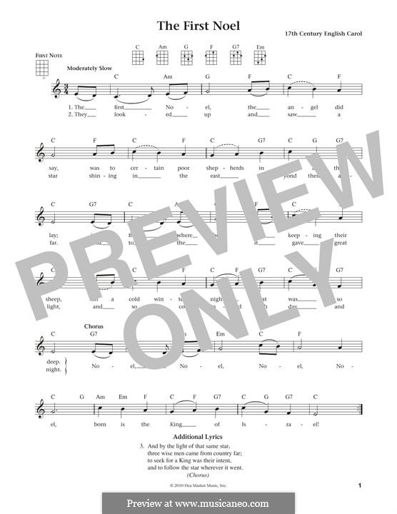 The First Nowell (The First Noël), Printable scores: For ukulele by folklore