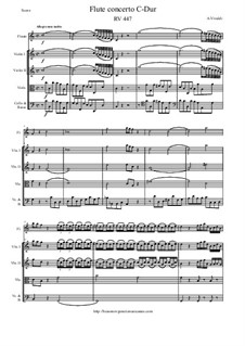 Concerto for Flute and Strings in C Major, RV 447: Score and parts by Antonio Vivaldi