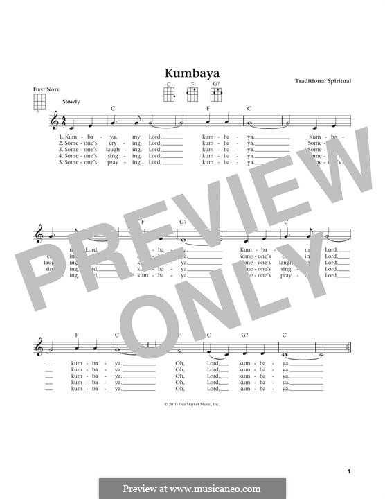 Kumbaya (Kum Ba Yah): For ukulele by folklore