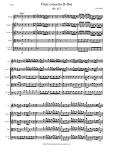Concerto for Flute and Piano in D Major, RV 427: Version for flute and strings – score and parts by Antonio Vivaldi