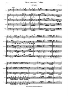 Concerto for Flute and Piano in D Major, RV 429: Version for flute and strings – score and parts by Antonio Vivaldi