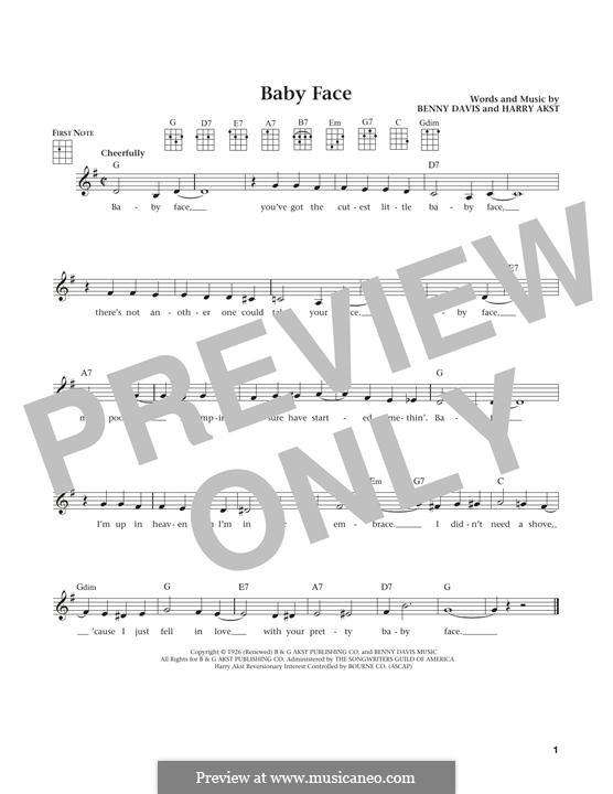 Baby Face: For ukulele by Benny Davis